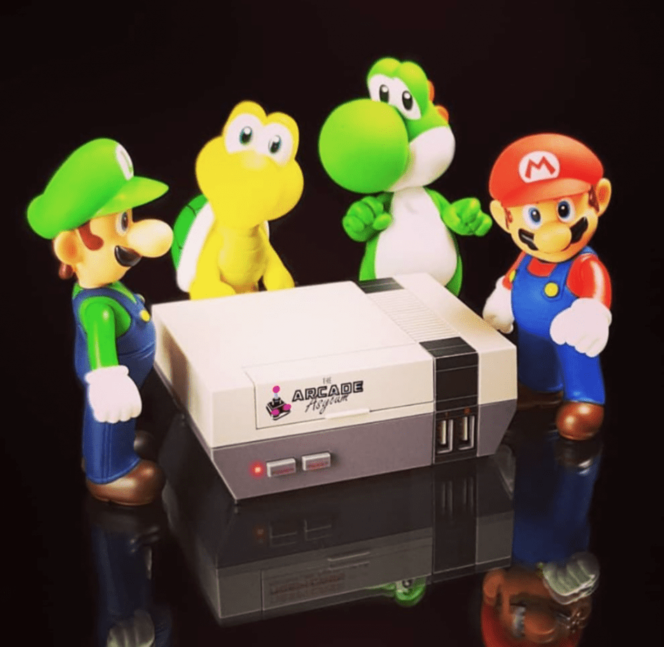 Nintendo characters crowded around a SNES
