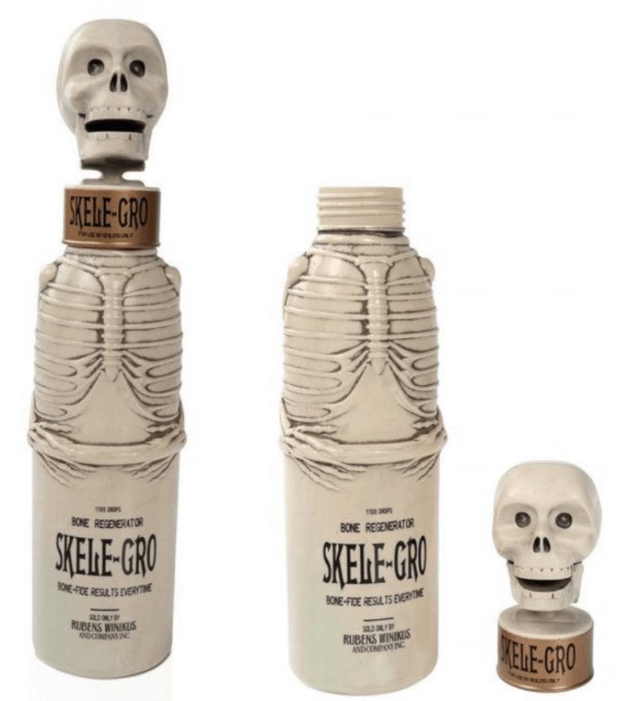 Skele-Gro water bottle and with skull lid off next to it.