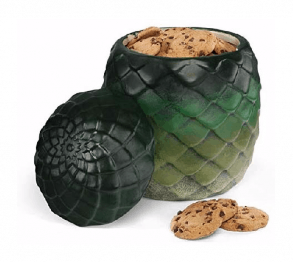 Dragon egg cookie jar, green.
