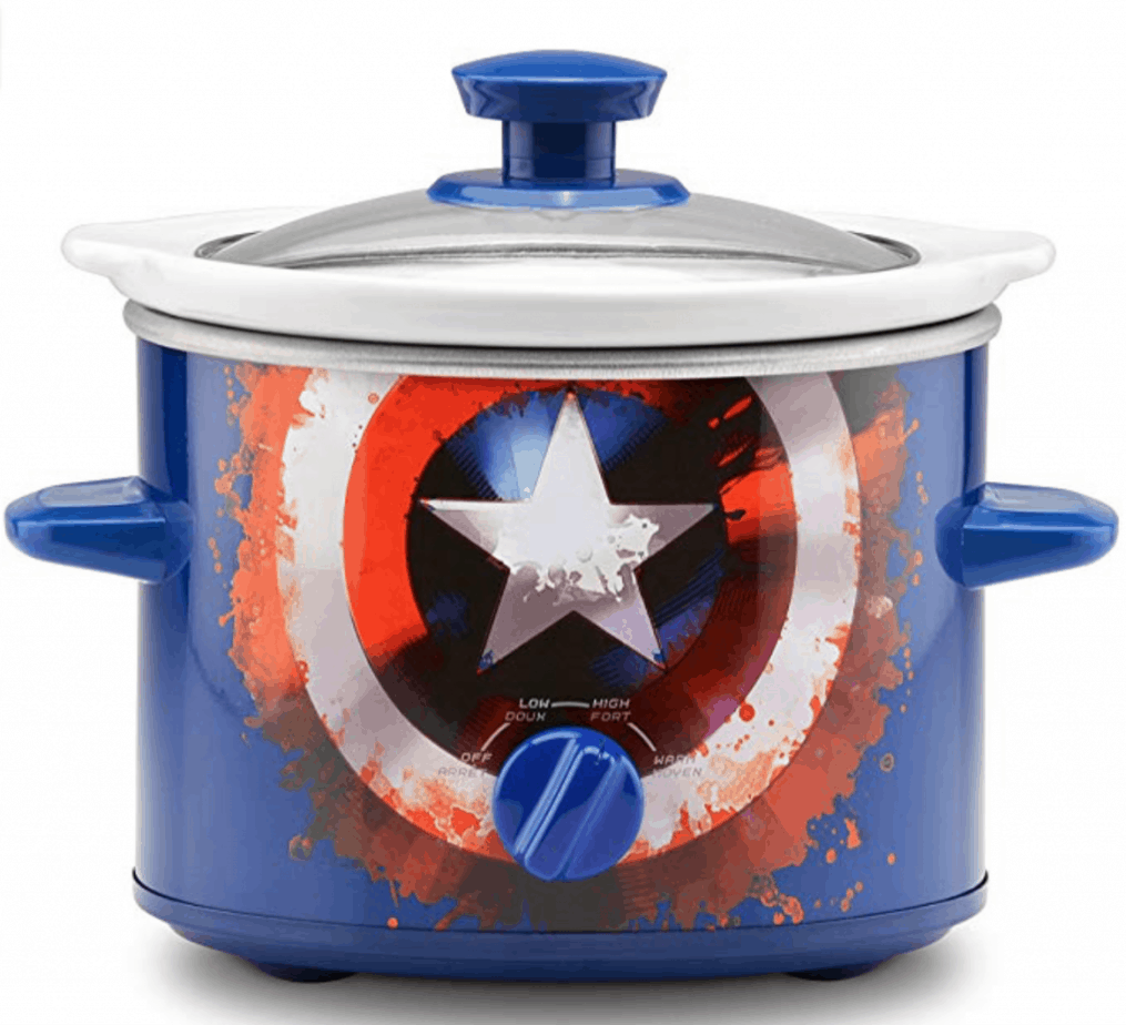 blue slow cooker with captain america's shield logo on front.