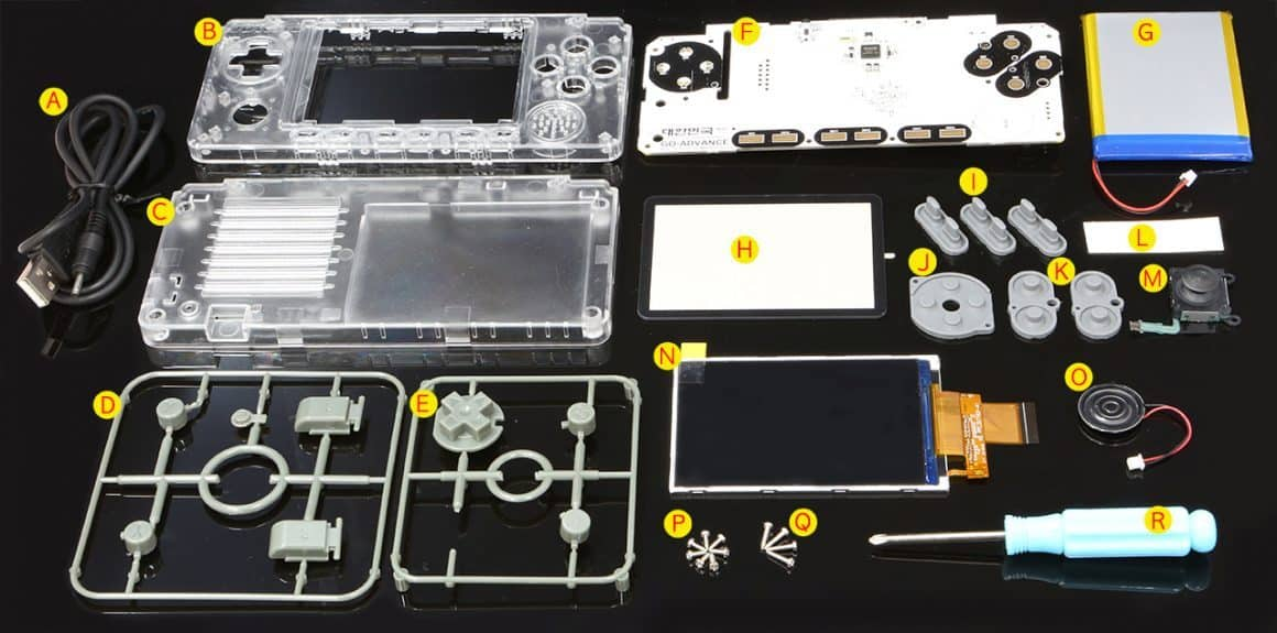 ODROID GO Advance construction kit complete with screwdriver