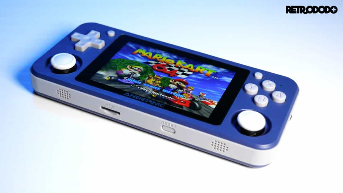 rg351p screen with Mario Kart 64 playing