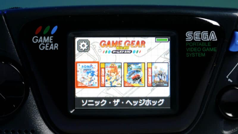 game gear micro menu