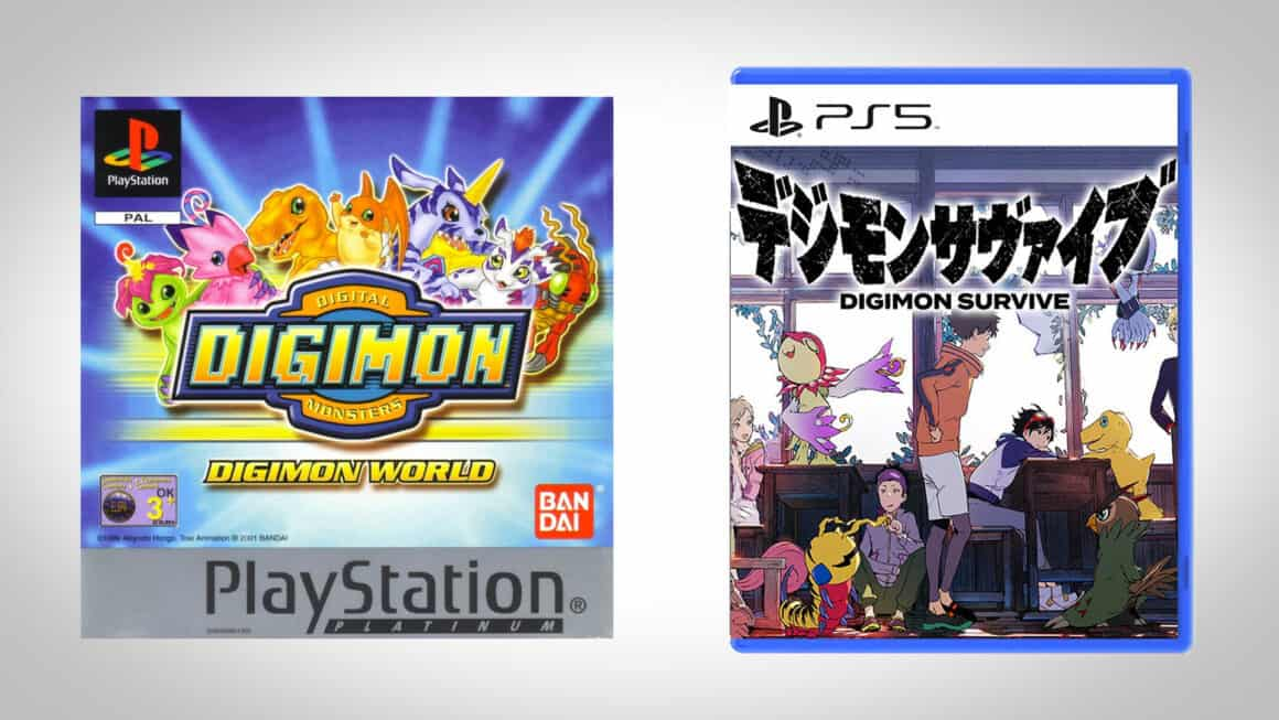The first and newest Digimon games side by side