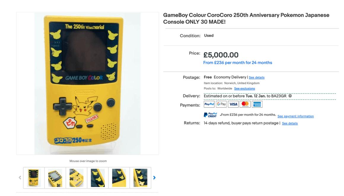 corocoro pokemon gameboy ebay listing