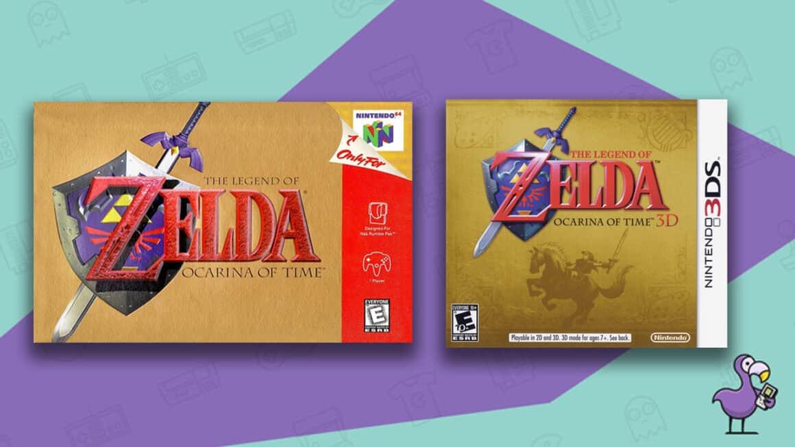 Best Zelda Games - The Legend of Zelda Ocarina of Time game cases for N64 and Nintendo 3DS