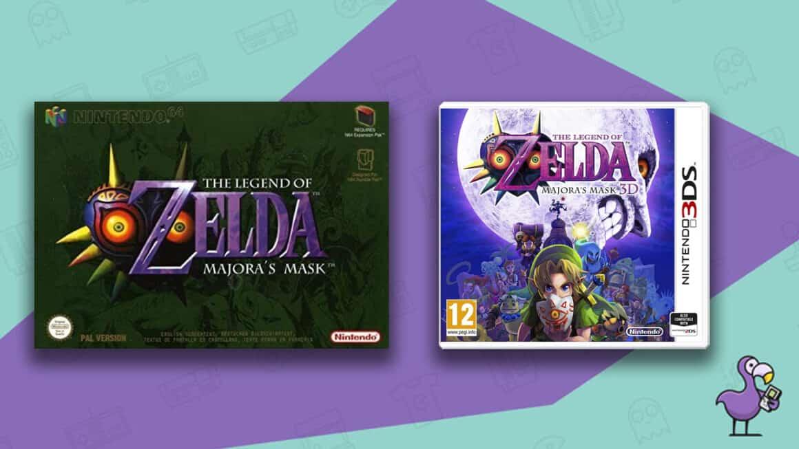 Best Zelda Games - The Legend of Zelda Majora's Mask Nintendo 64 and 3DS game cases