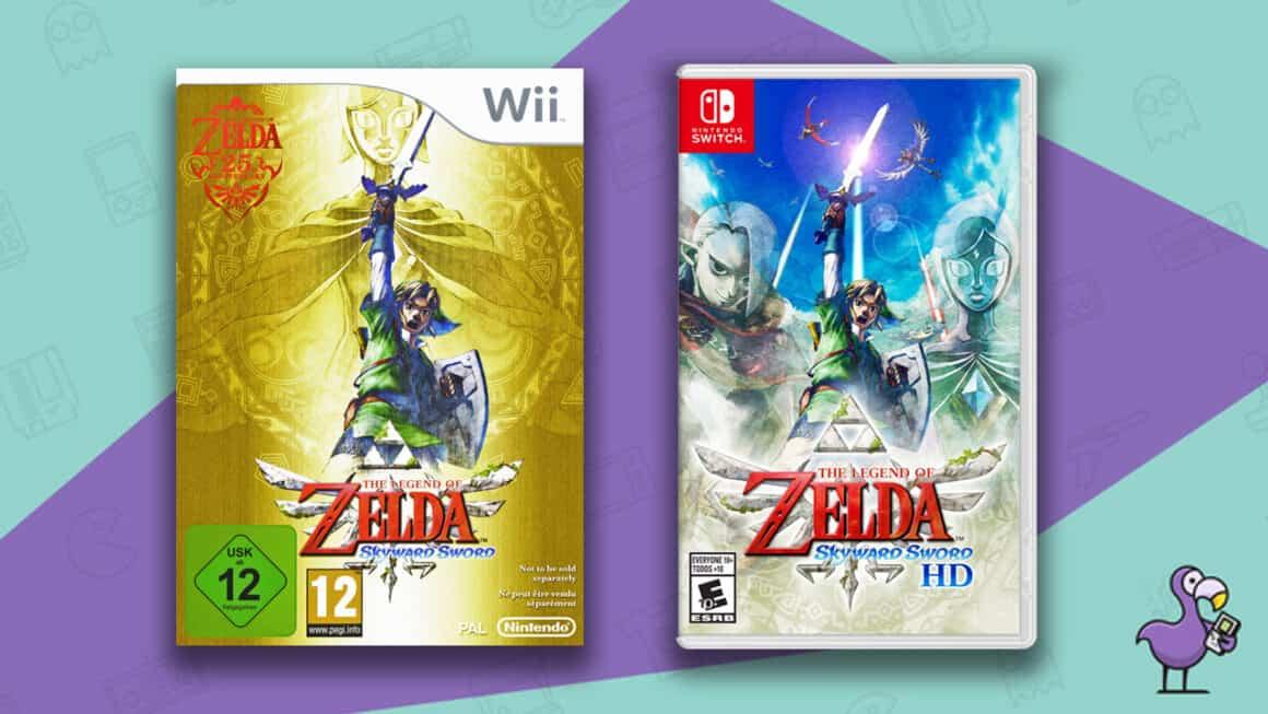 Best Zelda Games - The Legend of Zelda Skyward Sword Nintendo Wii and Nintendo Switch game cases