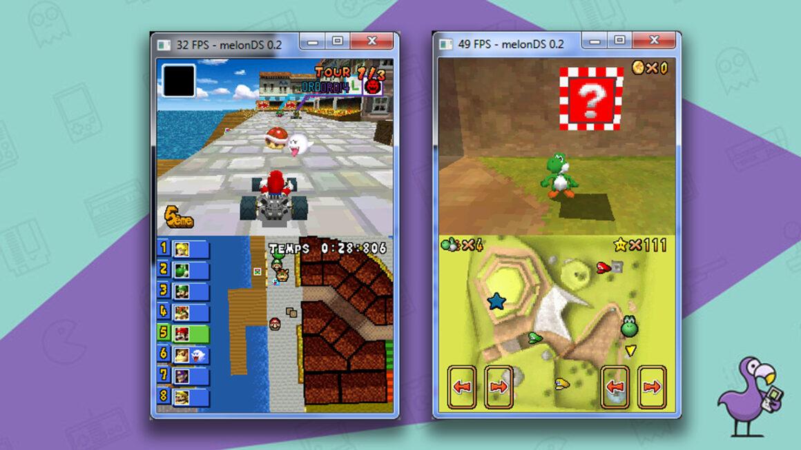 MelonDS Best Nintendo DS emulators gameplay screens showing Mario Kart DS and Super Mario 64 DS