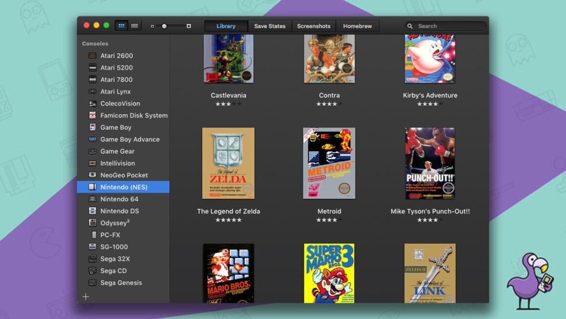 Best NES Emulators - OpenEMU games interface