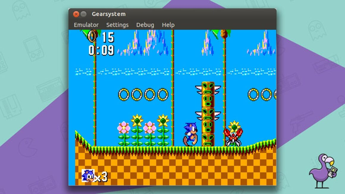best Sega Master System emulators -  GearSystem emulator gameplay showing Sonic