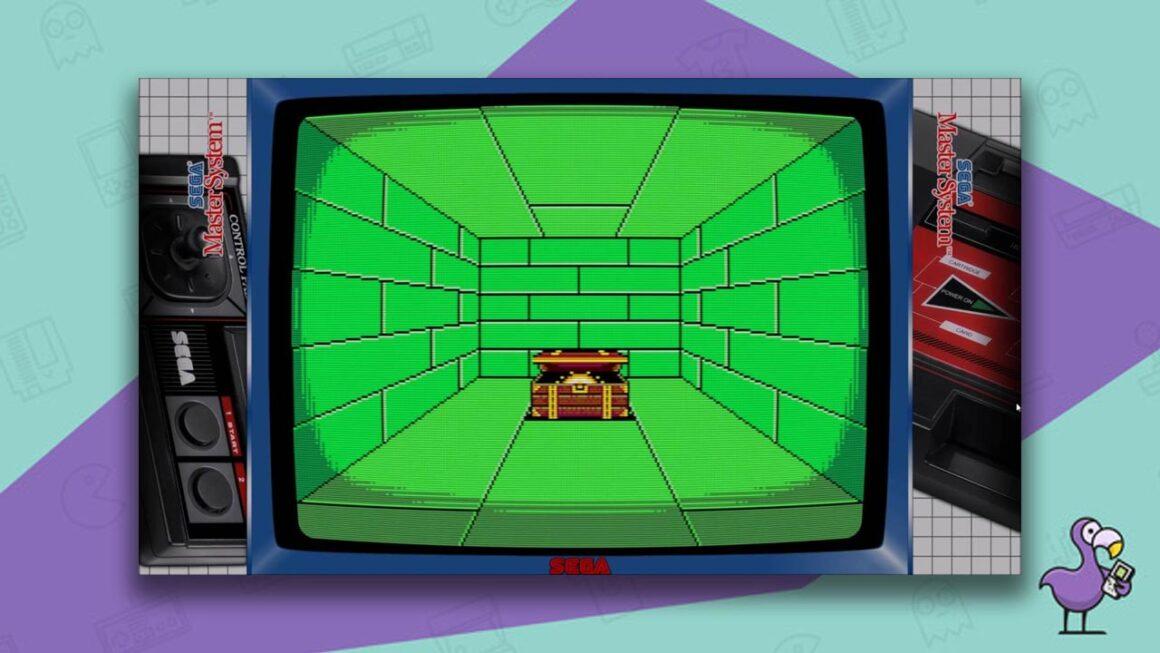 best Sega Master System emulators - RetroArch emulator gameplay with Sega Master System overlay showing a free room with a treasure chest.