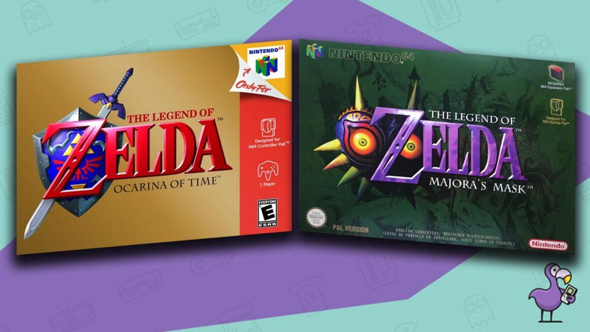 Best N64 RPG Games - The Legend Of Zelda Ocarina of Time/Majora's Mask game case cover art