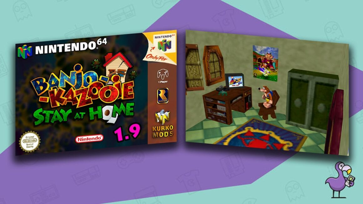 Best N64 Rom Hacks - Banjo Kazooie: Stay at Home Edition Mod case plus gameplay showing Banjo in his bedroom.