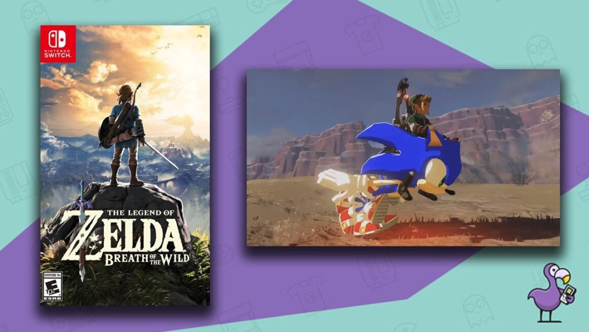 Best Zelda ROM hacks - Link riding on Sonic the Hedgehog through Hyrule