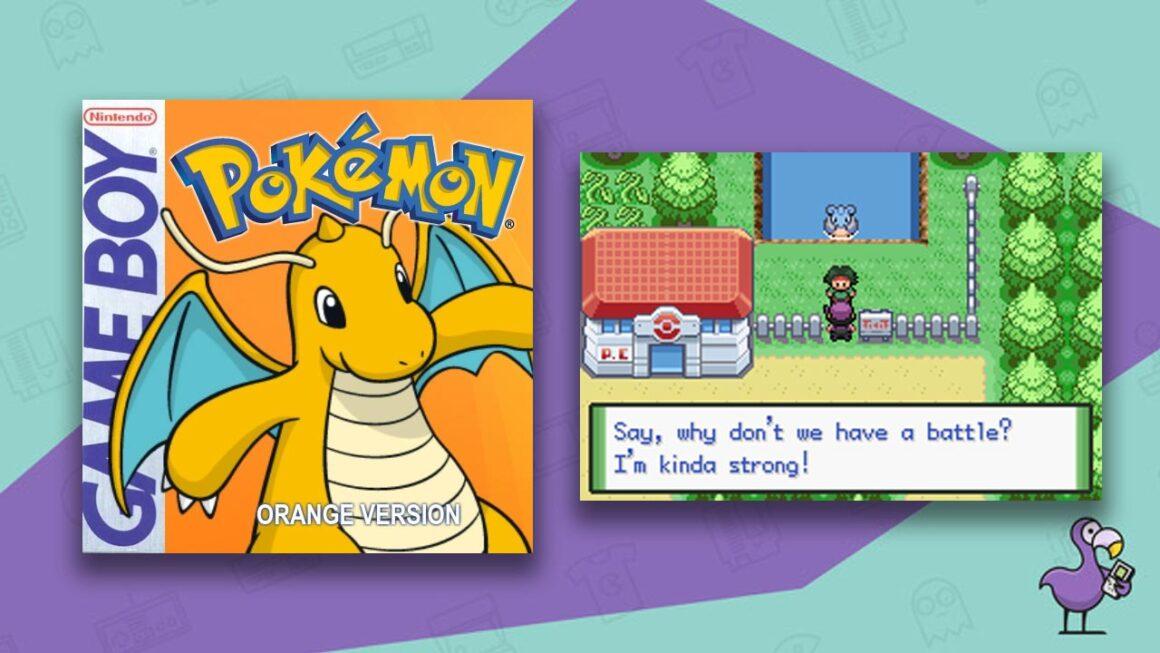 Best Pokemon ROM Hacks - Pokemon Orange cover showing Dragonite alongside gameplay of an impending battle