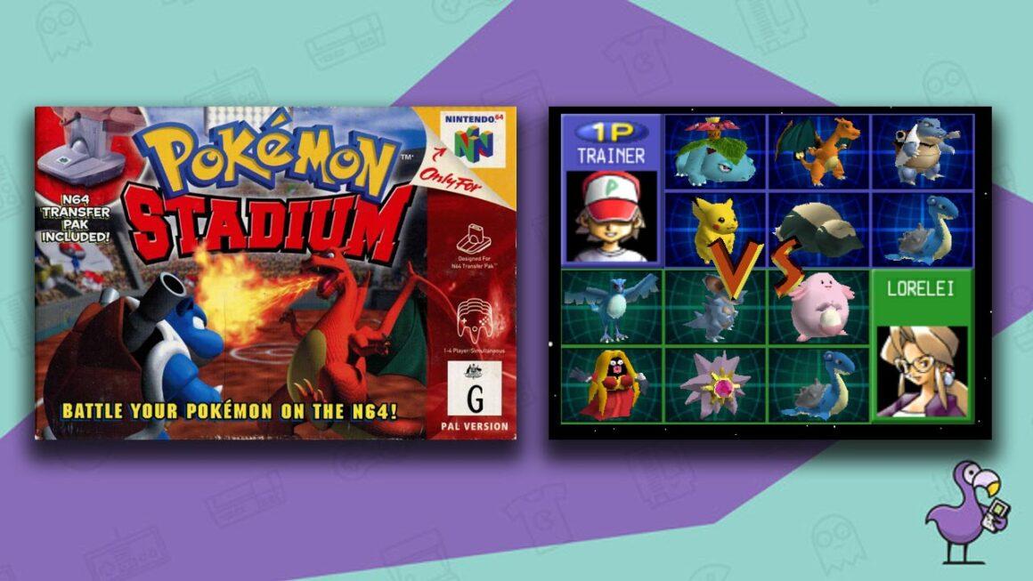 Best N64 Rom Hacks - Pokemon Stadium Kaizo with Pokemon Stadium game case and Pokemon selection screen.