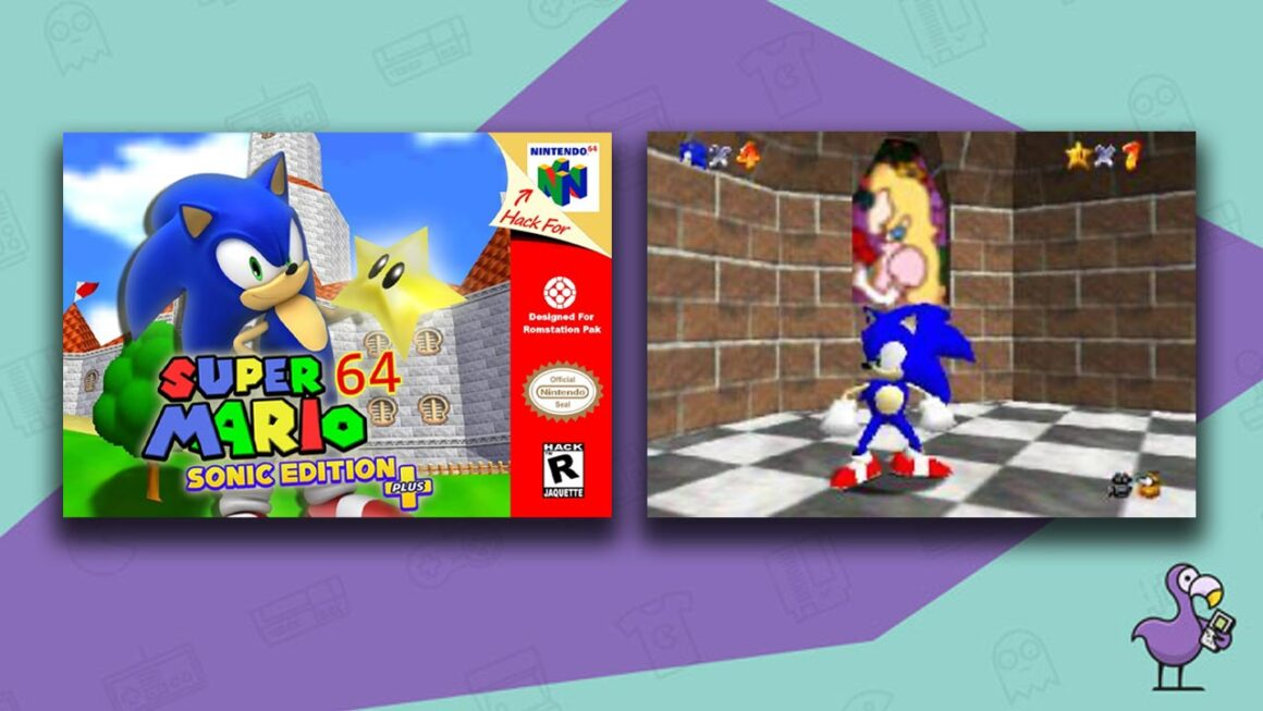 Best Super Mario 64 ROM hacks - Super Mario 64: Sonic Edition mod game case with gameplay showing Sonic stood by a secret Peach window