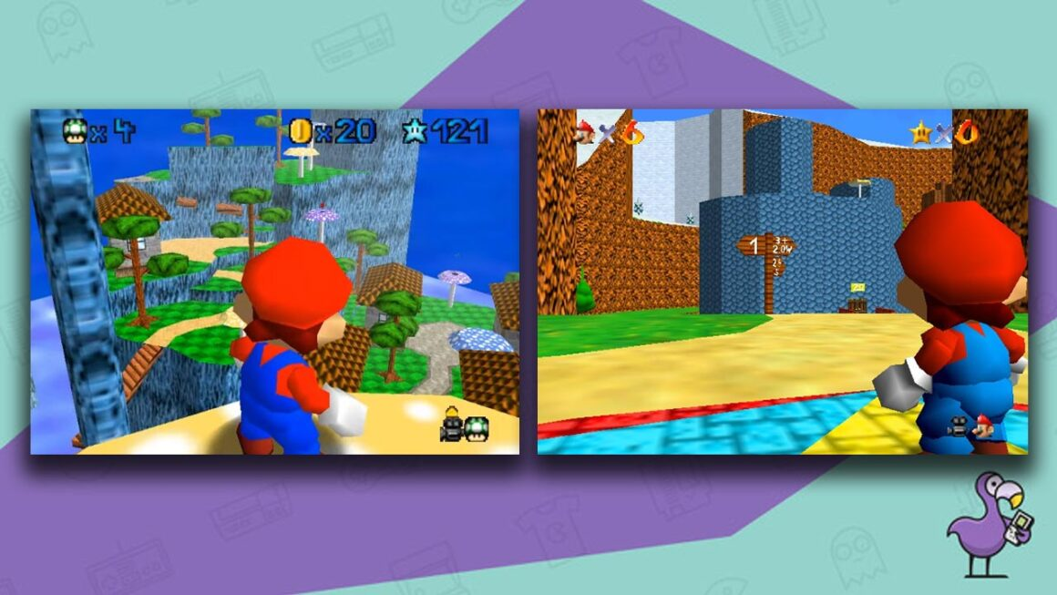 Best Super Mario 64 ROM hacks - Super Mario 64: Star Revenge gameplay showing brand new levels with a viewpoint from behind Mario