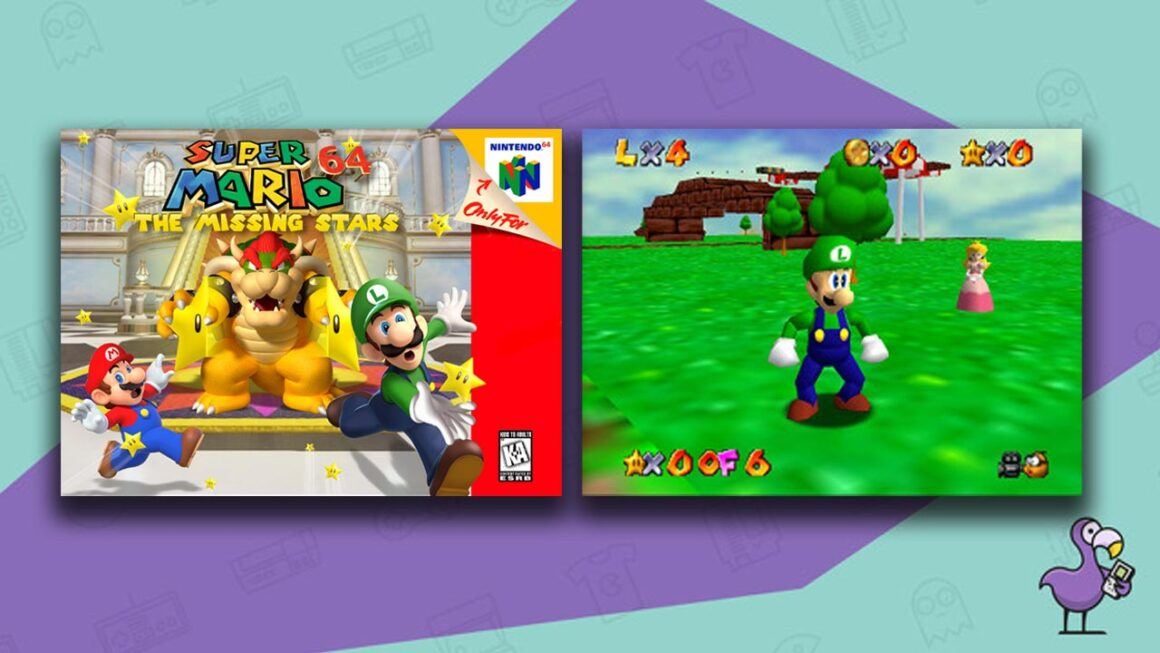 Best Super Mario 64 ROM hacks - Super Mario 64: The Missing Stars mod game case with Bowser, Mario, and Luigi. Gameplay showing Luigi and Peach.