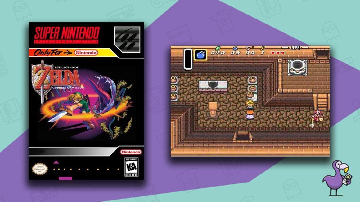 Best Zelda ROM hacks - The Legend of Zelda: Goddess of Wisdom game case and mod gameplay
