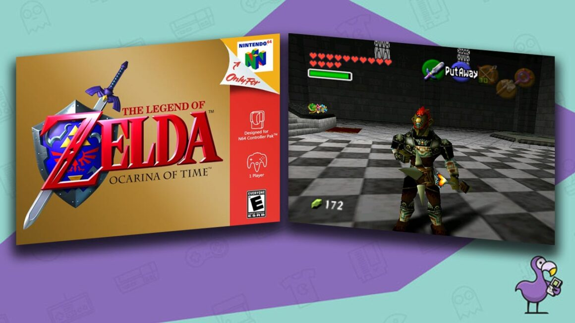 Best Zelda ROM hacks - Legend of Zelda: Ocarina of Time game case and gameplay showing Ganondorf as a playable character.