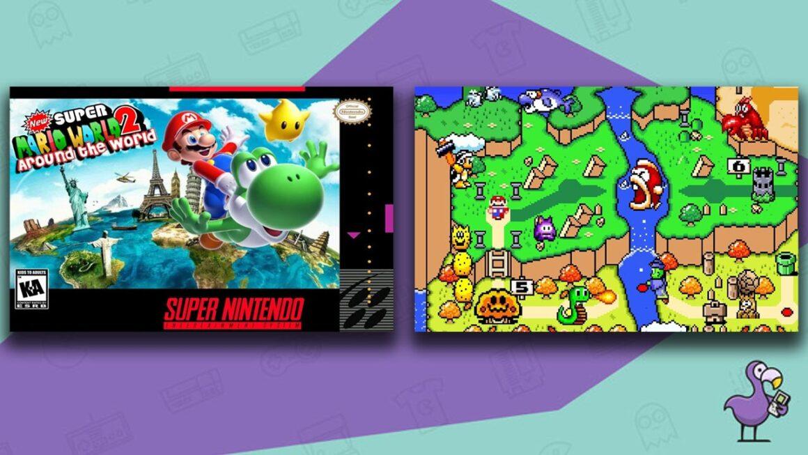 Best SNES ROM Hacks of 2021 - New Super Mario World 2 Around The World custom ROM game case and gameplay