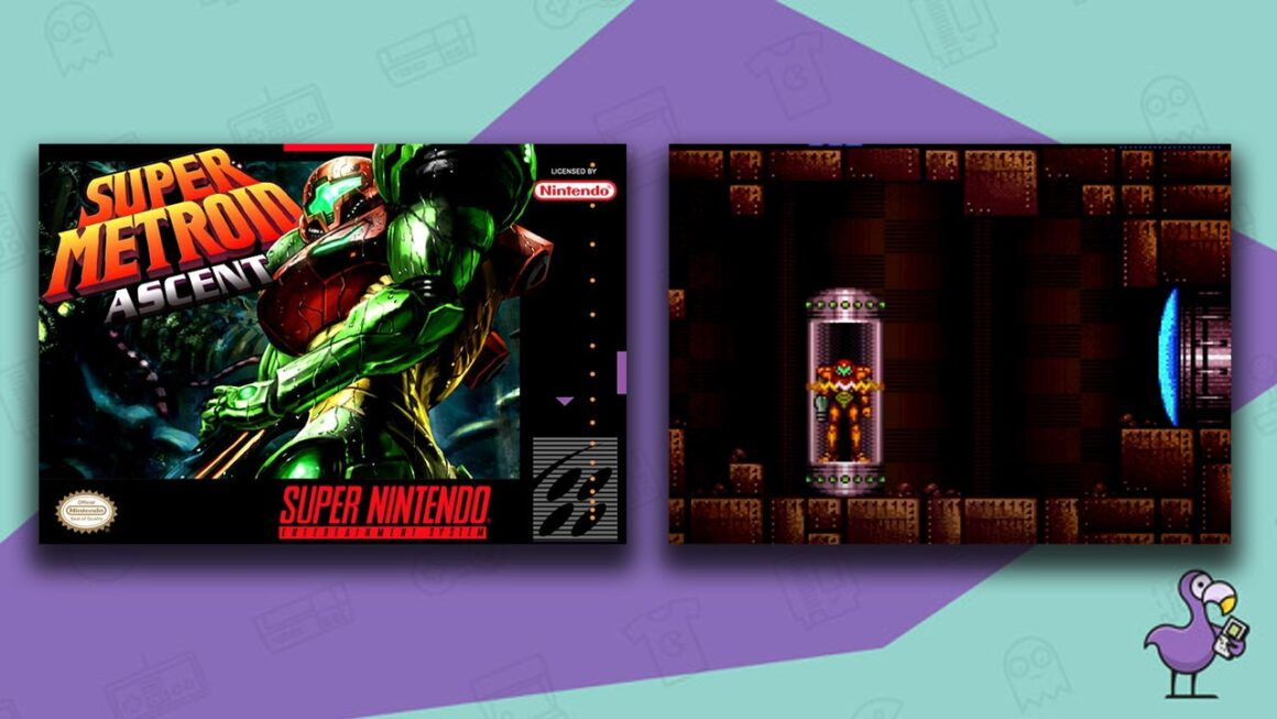 Best SNES ROM Hacks of 2021 - Super Metroid: Ascent custom ROM game case and gameplay
